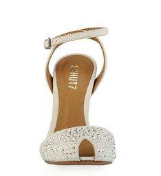 Sandália Salto Metalizado Tachas