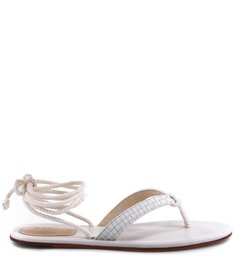 FLAT SANDAL LACE UP PEARL