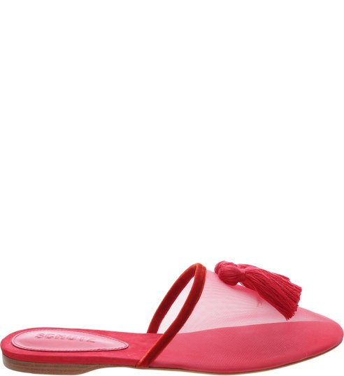 Flat Mule Tela Glam Red