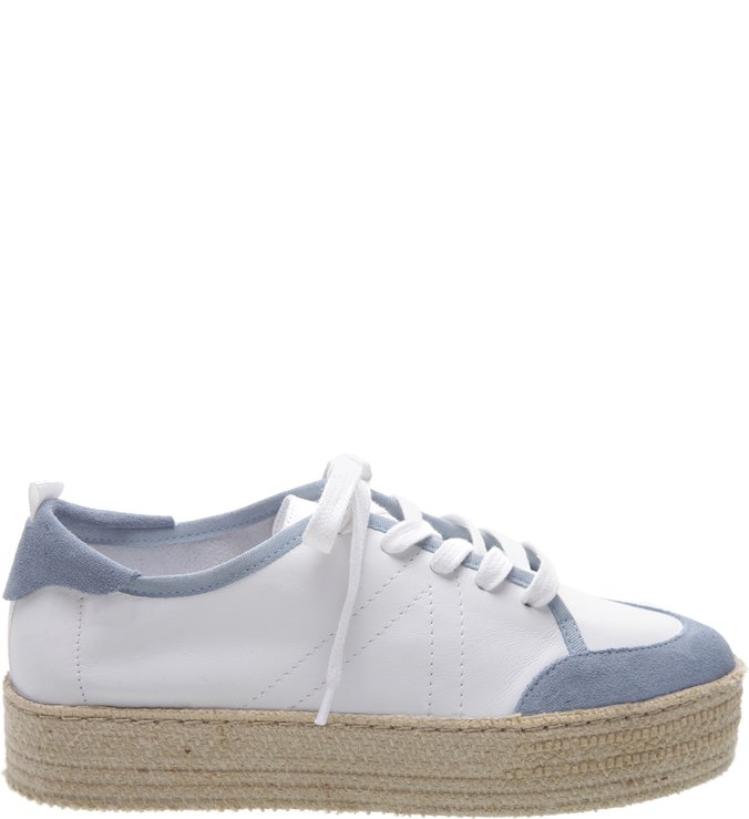 Tênis Flatform Natural White & Blue