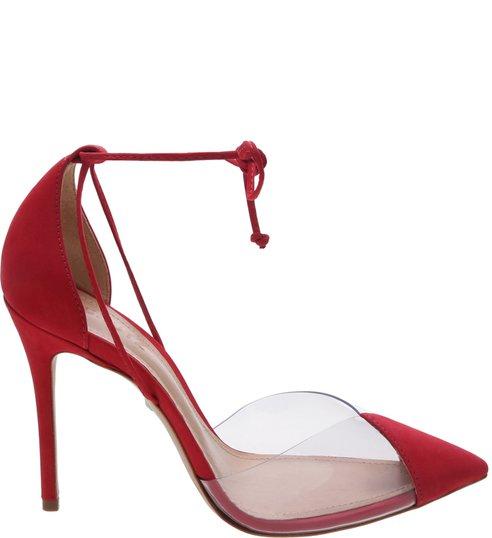 Scarpin Vinil Lace Up Verniz Red