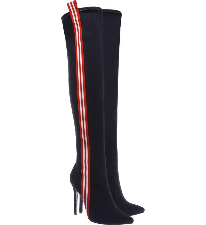 Giordana Bota Over The Knee Side Stripe Black