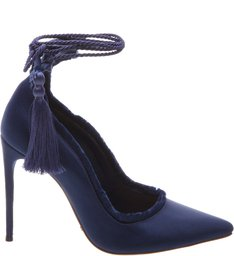 Scarpin Lace Up Satin Dress Blue