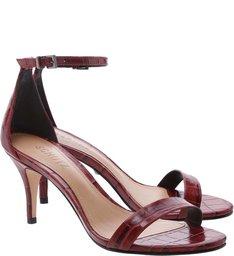 Sandália Gisele Kitten Heel Croco Red