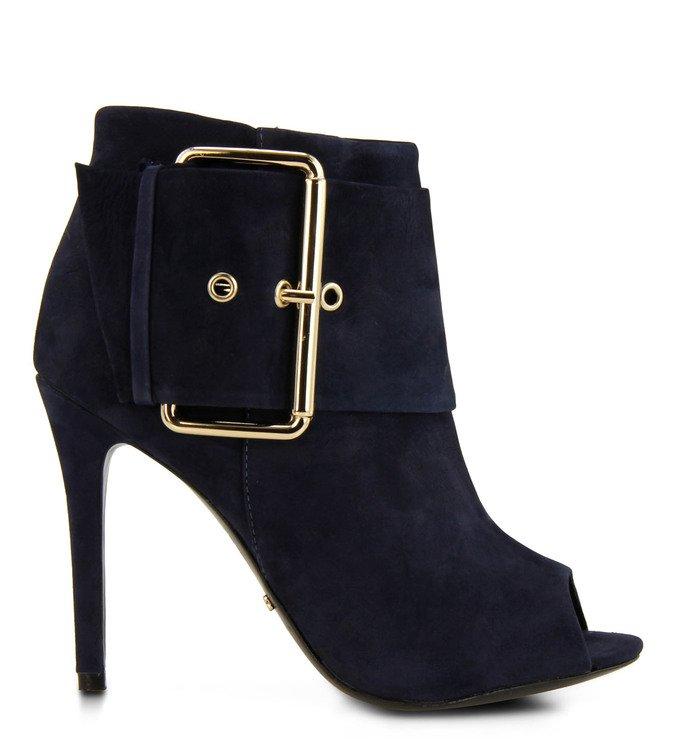 Ankle Boot Peep Toe Fivelas Azul