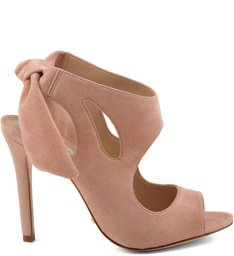 Ankle Boot Com Cut Out Camurça Tanino