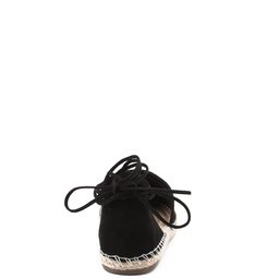 Flat Espadrille Lace Up Black