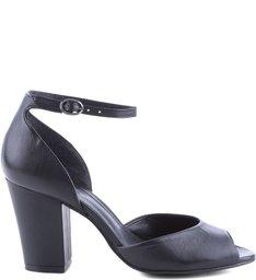 Sandália De Salto Bloco Modelo Peep Toe Black