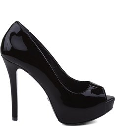 Peep Toe Glam Verniz Black