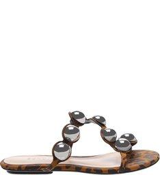 Flat Slide Metallic Balls Brown