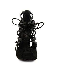 Sandália Amarração Peep Toe Preta