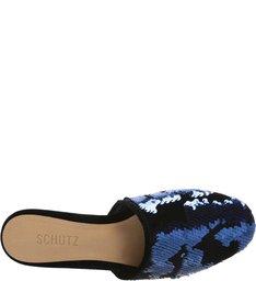 Flat Mule Paetês Blue