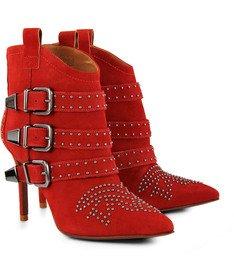 Ankle Boot Tachas Vermelha