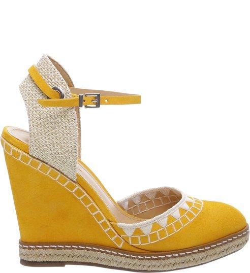 Sandália Anabela Nobuck Handmade Yellow
