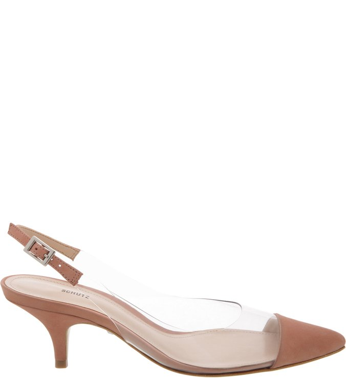 Scarpin Slingback Clear Poppy Rose