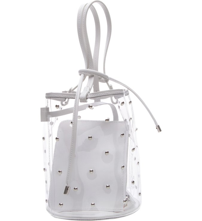 Bucket Bag Vinil Crystal White Studs