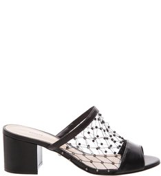 Mule Block Heels Crystal Net