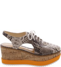 Oxford Flatform Orange Sole Summer Snake
