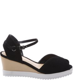 Anabela White Sole Black