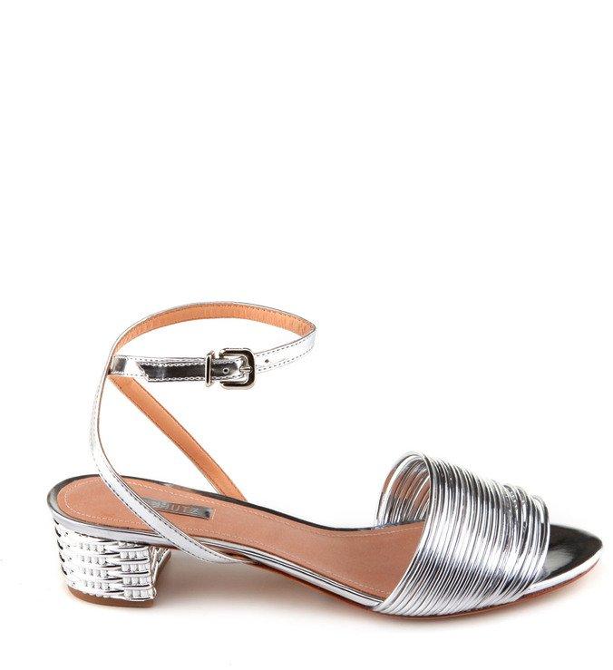 Sandália Salto Metalizado Prata