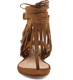 Sandália Rasteira Leaf Fringes Cow Suede Bamboo