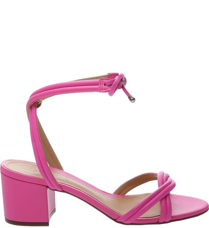 Sandália Block Heel Strings Neon Pink