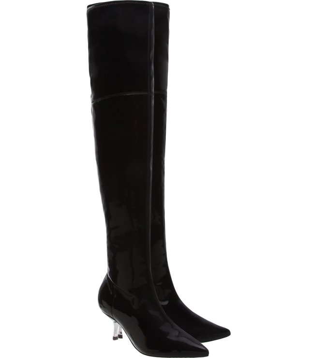 Bota Over The Knee Verniz Kitten Heel