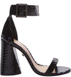Sandália Salto Cone Snake Black