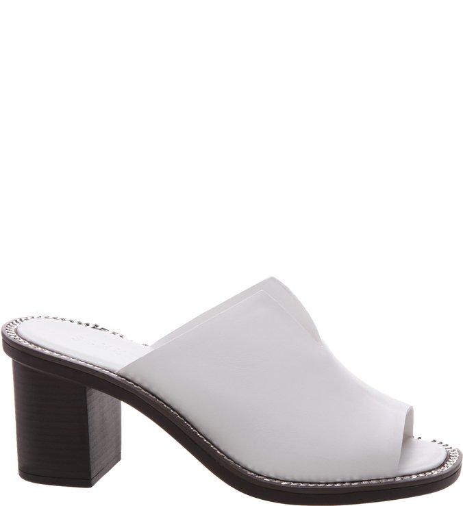 Mule Block Heel White