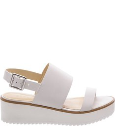Flatform White Sole Double Straps Pearl