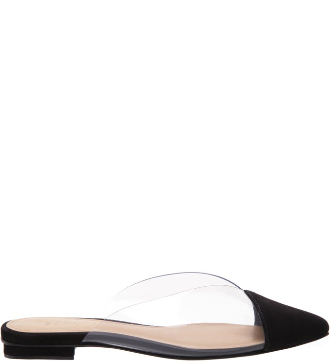 Flat Mule Crystal Black