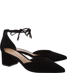 Sapato Block Heel Lace-Up Nobuck Black