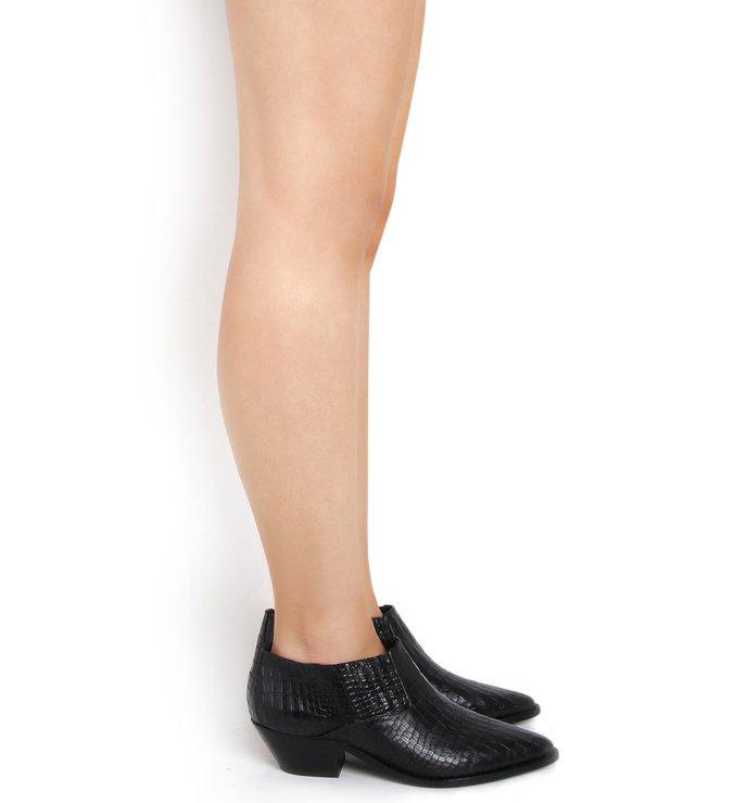 New Western Cut Boot Croco Black
