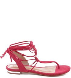 Rasteira Lace Up Thin Strips Hot Pink
