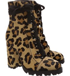Combat Boot Lace Up Animal Print