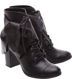 Combat Boot Block Heel Black