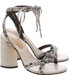 Sandália Salto Cone Lace-Up Python White