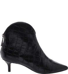 Bota Kitten Heel Western Croco Black