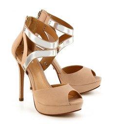 Sandália Placas Metalizadas Nude