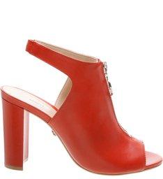 Open Boot Zip Block Heels Red