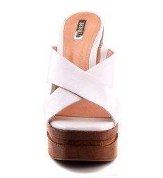 Sandália Salto Madeira Branca