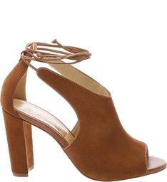 Sandália High Heel Lace Up Wood