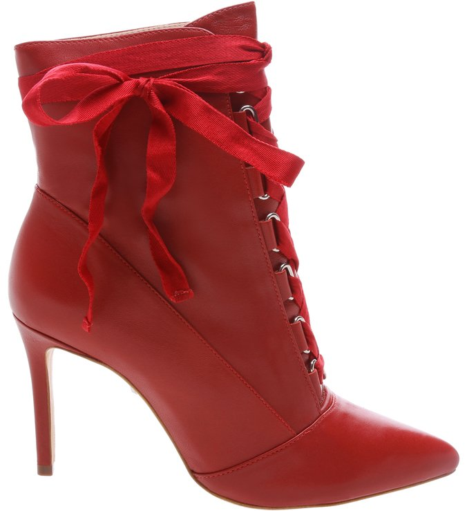 Ankle Bootie Gaga Lace Up Red