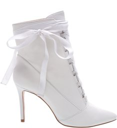Ankle Bootie Gaga Lace Up White
