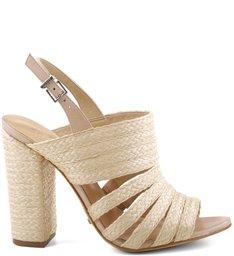Sandália Block Heel Ráfia Natural