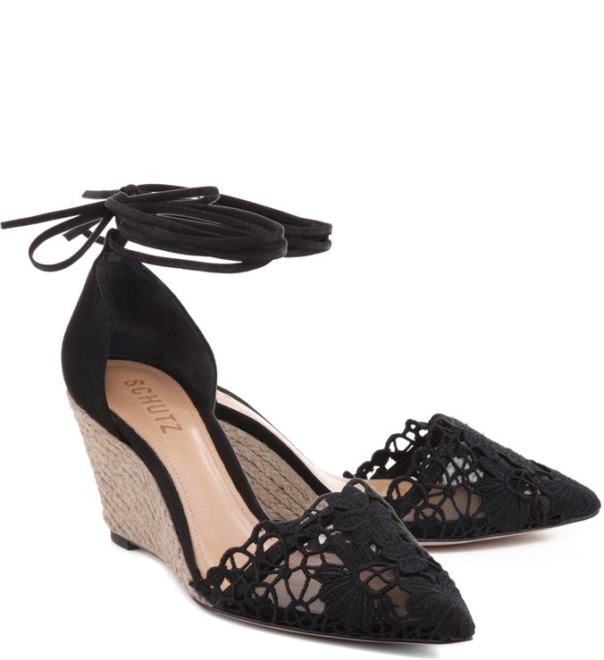 Scarpin Anabela Lace Black