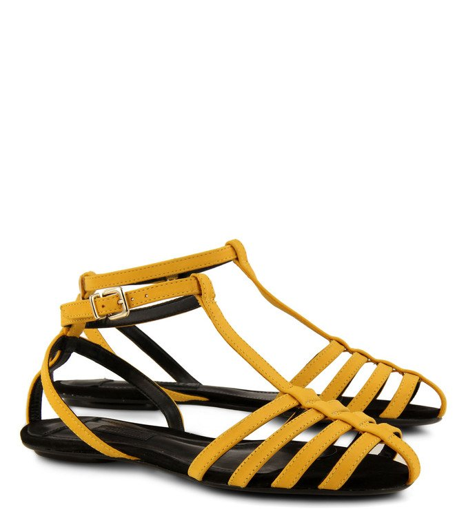Sandália Rasteira Tiras Orientais Amarela