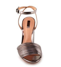 Sandália Salto Bloco Metalizado
