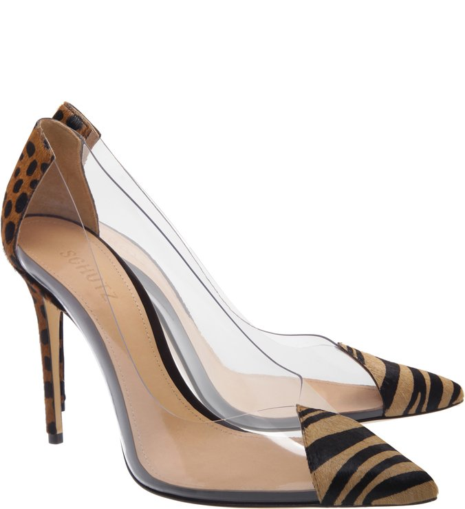 Scarpin Vinil Animal Print Yellow