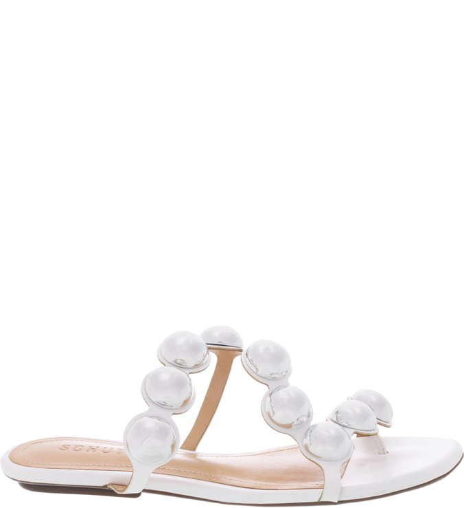 Flat Slide Metallic Balls White
